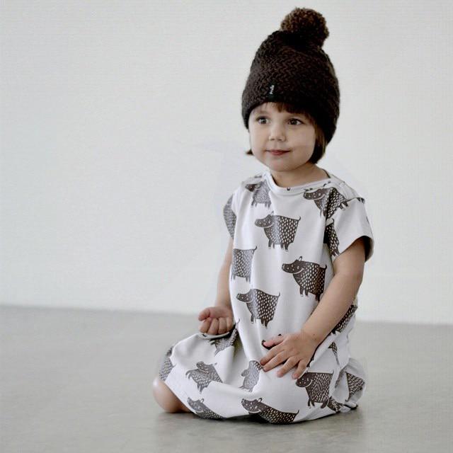 2017 summer bobo KIDS hippo cotton  SHORT girls dresses kikikids nununu baby girl clothes kids clothes 1-4 GIRLS DRESSES<br><br>Aliexpress