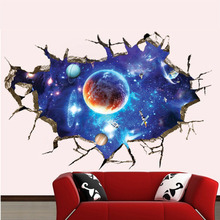 3D Galaxy Planet Space Wall Sticker For Kids Boys Bedroom Art Vinyl Wall Decal Peel and Stick Baby Bedroom Home Decoration(China)