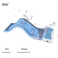 Uhuru Bluetooth 3.0 Waterproof Keyboard Portable Silicone wireless keyboard for iPad Laptop Phone teclado inalambrico tastiera