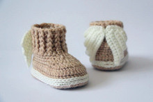 Crochet baby booties, baby shoes, boots, girl, boy, wings, angel, tan, cream photo prop baby shower gift, gift idea  - 9cm,11cm