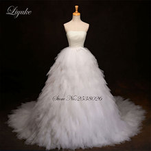 Buy Liyuke Luxury Pearls Strapless Ball Gown Wedding Dress Embroidery Floor-Length Chapel Train Lace Bride Dress robe de mariage for $211.00 in AliExpress store