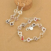 JEXXI Best New Happiness Rubik Cube Jewelry Set Fine 925 Sterling Silver Jewelry Cubic Zirconia Bracelet Hook Earrings Sets