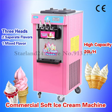 Pink Colorful Sundae Ice Cream Maker Commercial Softy Ice Cream Machine 20Liter/H 220V Three Heads LED Display