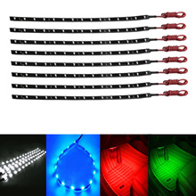 8pcs 12V 3258 15 LED SMD 30cm Car Motor Vehicle Flexible Waterproof Strip Light Green/White/Red/Blue(China)