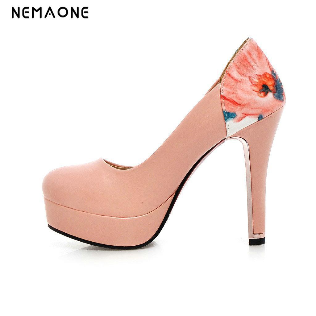 NEMAONE 2017 lace flowers shoe bridal wedding shoe round toe fashion womens platform shoes lace heel PUMPS free shipping<br>