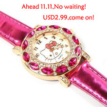 Free Shipping Top Fashion Brand Hello Kitty Quartz Watch Children Girl Women Leather Crystal Wrist Watch Wristwatch Cut Lovely(China)