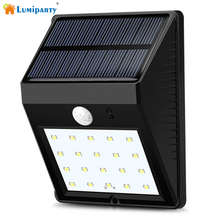 Lumiparty 20 LED Solar Panel Powered Motion Sensor Lamp Outdoor Light Garden Security Wall Light for Patio, Deck, Yard(China)