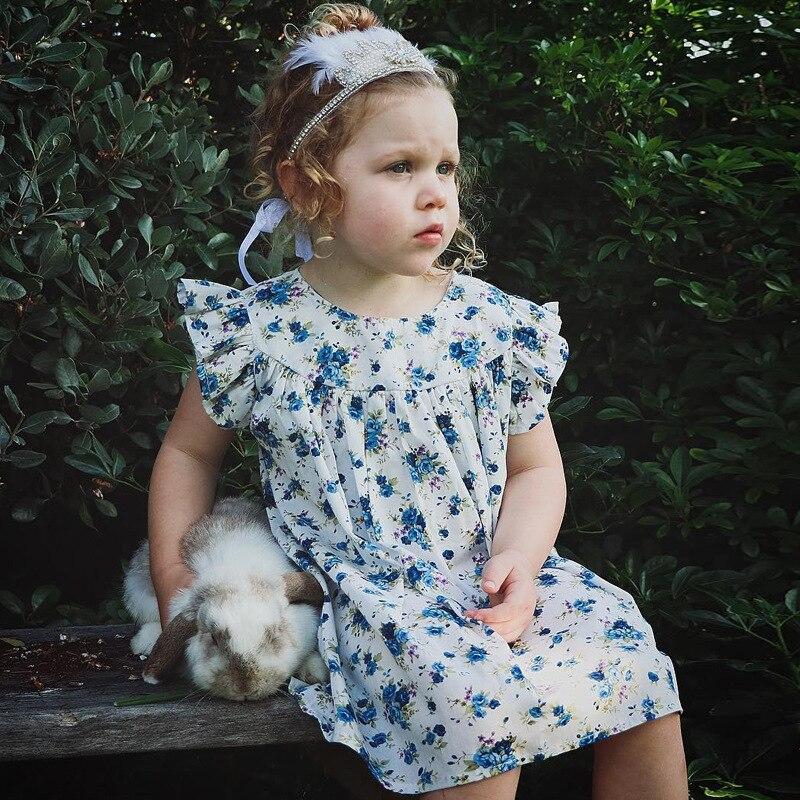 Mother nest 2018 Summer New Girls Flower Puff Sleeves Dress Cotton Children Kids Clothes Toddler Baby Birthday Kids Dresses (19)
