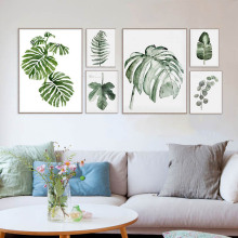 Original Design Watercolor Green Leaf Natural Tropical Plant Cottage Art Canvas Prints wall Picture Posters For Home Sofa Decor