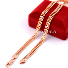 7mm 24inch  Mens Womens  Rose Gold Filled Necklaces Link Chain Fashion Long Jewelry (NO RED BOX)