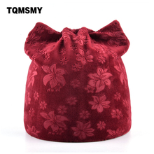 TQMSMY Lovely winter hats for women beanie Autumn girls beanies Flannel hat Russia bone Ladies Cat gorros Bauhinia flower Caps(China)