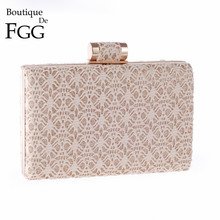 Champagne Hollow Out Lace Women Evening Golden Metal Clutches Handbag Lady Wedding Party Shoulder Bag Hardcase Bolsos De Mano