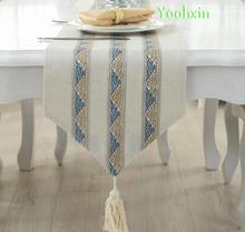 Luxury beige Printed Table Runners cloth tea bed runner cover towel Christmas Placemat party Wedding Tablecloth Home Decor
