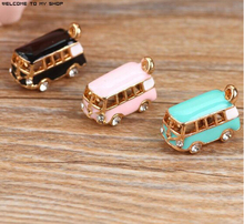 New arrived Alloy drop oil gold plated 3D Stereoscopic Cartoon Bus Car shape charms diy phone/key chain pendants jewelry making