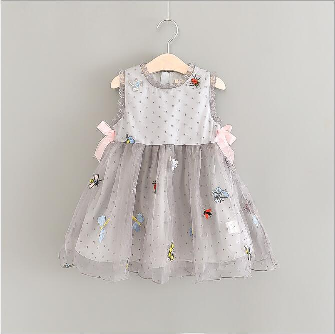 Girl Sundress 2018 Summer New Dress For Kids Cute Girl Party Dresses Tulle Embroidery Girl Clothing Baby Girls Party Dresses