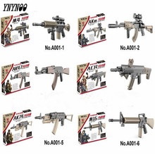 YNYNOO 120Pcs WW2 weapon Building Block mini Bricks rifle Sniper rifle Submachine gun M4 AK47 M16 AK74 Building Blocks lepin Toy