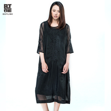 Outline Women Summer Casual Dress Loose Two Pieces Black O-neck Three Quarter Lace Embroidery Plus Size Long Vestidos L163Y009