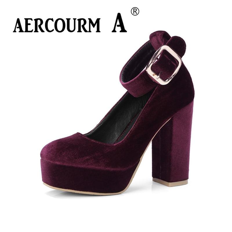 Aercourm A 2018  Plus Size 34-42 Fashion Spring Women Pumps Round Toe Ladies Shoes Buckle Square Heel High Heels Shoes FM6287<br>