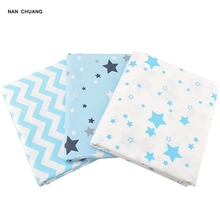 NanChuang Sky Blue Star Twill Cotton Fabric Handmade Sewing Quilting Fat Quarter Hometextile Cloth Material For Baby&Children(China)