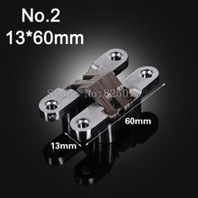 1PCS Hidden Hinges Size 13x60mm Bearing 10KG Invisible Concealed Cross Door Hinge Stainless Steel Hinge For Folding Door KF1059(China)