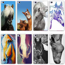 226GH Horse Portrait head Hard Transparent Cover for Huawei P7 P8 P8 P9 Lite Honor 4C 5C 6 7 8 & Nova