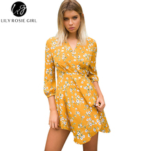 Lily Rosie Girl Women 2017 Sexy V-neck Floral Elegant Empire Summer Dress Orange Print Wrist Sleeve Boho Style Dresses Vestidos