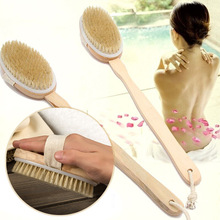 VILEAD Long Handle Wooden Fur Natural Body Brush Shower Back Brush Dry Skin Shower Bath Wash Body Massage Brush