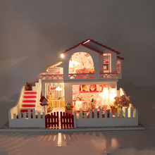 D024 big DIY dollhouse miniature wooden doll house with furniture miniatures wood house(China)