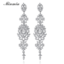 Minmin Silver Color Crystal Wedding Long Earrings Floral Shape Chandelier Earrings for Women Brides Bridesmaid Christmas EH182(China)