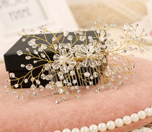 handmade Crystal beads hair comb women hair jewelry Tiara