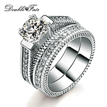 AAA+ Cubic Zirconia 2 Rounds Rings Sets Silver Color Fashion Engagement/Wedding Jewelry For Women Ring Setting DFR606