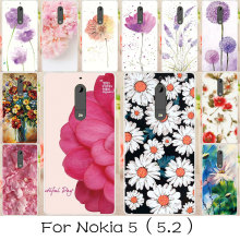AKABEILA Silicone Painted Phone Cover Cases For NOKIA 5 Nokia heart Bags Case Soft TPU Back Covers Flowers Housings For NOKIA 5(China)