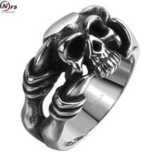 NFS Brand Men Jewelry Death Skull Head Ring Stainless Steel Men Rings Evil Skeleton Witcher Face Claw Punk Rings For Women(China)