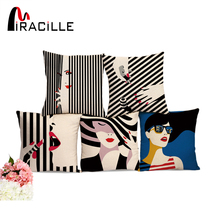 Miracille 45*45cm Stripe Art Printed Cushion Fashion Lady Decoration Cotton Linen Throw Cushion Pillow for Home Sofa Car Decor(China)