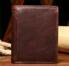 Crazy Horse Leather Wallet retro casual leather short Wallet / mail folder card(China)