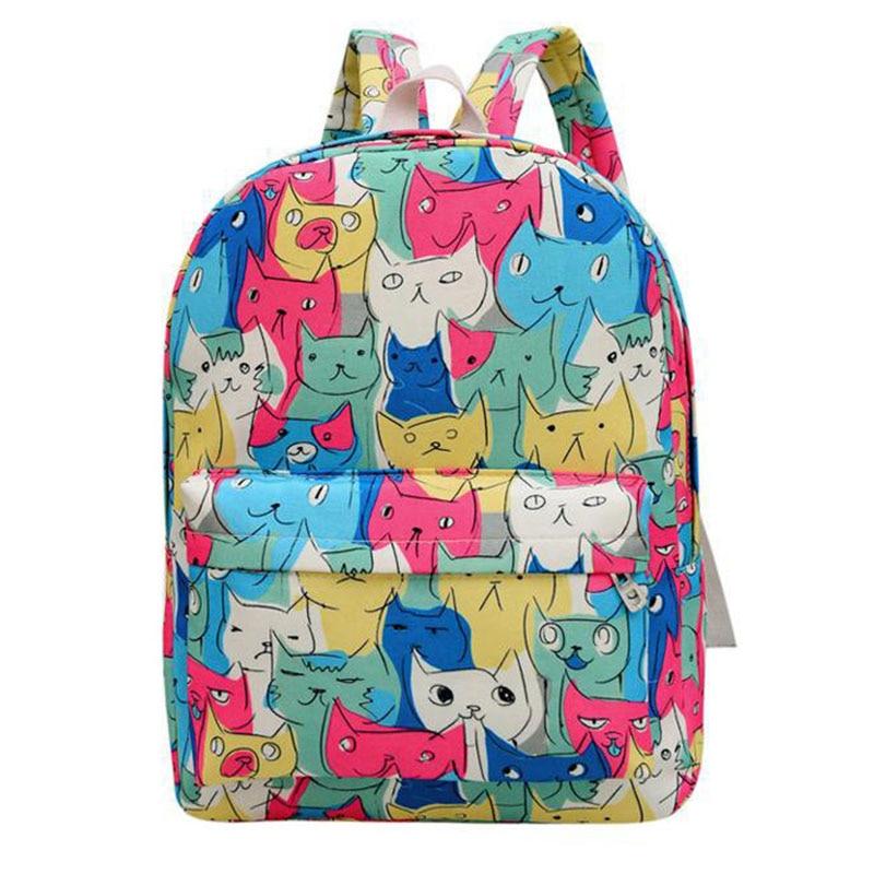2017 New Womens Canvas Backpack Teenager Girls Cute School Bags Ladys Cartoon Cats Backpacks Casual Travel Racksuck XA1812C<br><br>Aliexpress