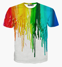 kids summer clothes Colorful paint Cuhk child short sleeve O-neck t shirt boys and girls unisex tee shirt