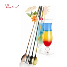 Stainless Steel Multifunctional cocktail spoons with long handle Gold Stirrer Barware Fruit Juice Mixing Spoon Drinking Tools