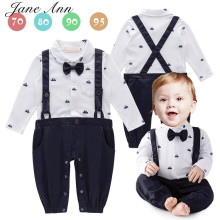 Baby boy gentleman bow tie strap romper white blue long sleeve spring autumn jumpsuit unisex baby party wedding clothing costume - Jane Ann Store store