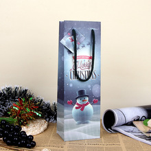 Christmas Snowman Paper Gift Bag Festive Party Decor Red Wine Bottle Bag Art UV Gift Wrap Package SD773