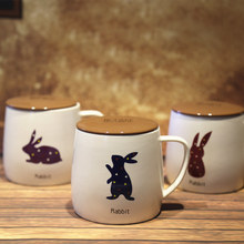 Rabbite Logo Style Ceramic Morning Mug with Lid Lovely Mugs for Coffee Milk Tea Unique Gift SH239(China)