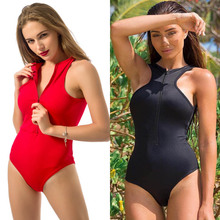 2017 Europe And The United States Women Burst Bursts Back Zipper Deep V Beach Piece Swimsuit Summer New Products Maillot De Bain(China)