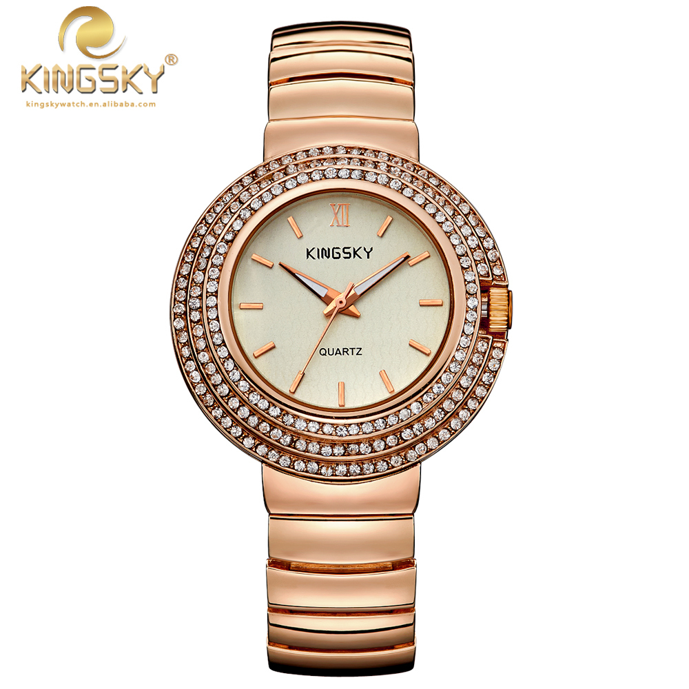 Fashion Design Women Watches KINGSKY Brand Unique Face With Rhinestone Rose Gold Alloy Analog Wristwatch 2017 New<br>