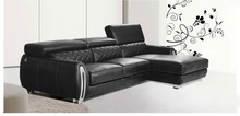 2015 Modern Furniture Genuine Leather Sectional Sofa Set with Adjustable Headrest with stainless steel armrest(China)