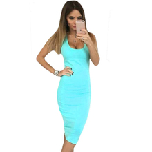 YJSFG HOUSE Casual Sexy Women 2017 Summer Sleeveless Midi Office Work Dresses Ladies Slim Bodycon Shirt Dress Blue Pink Vestidos