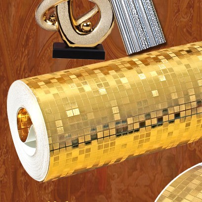 Modern luxury 3d solid color gold foil wallpaper gold silver mosaic wallpaper KTV ,sofa, spa, bar wallpaper <br>