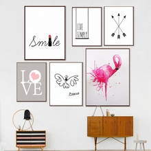 HAOCHU Princess Room Decor Picasso Smile lipstick Hot Pink Flamingo Canvas Painting For Numbers Art Wall Poster Coffee Bar Gift