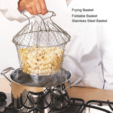 Stainless Steel Frying Chef Basket Steam Rinse Strain Foldable Vegetable Meat Fryer Strain Net Colander Kitchen CookingTool