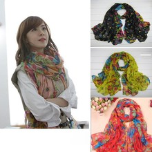7 Colors Characteristic Soft Floral Print Voile Scarf Neck Wrap Cozy Scarf New Floral Scarf Keep warm Scarf High Quality(China)
