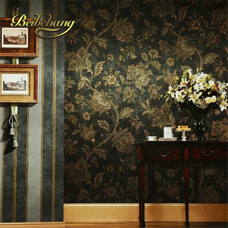 beibehang papel de parede. Rustic black and gold vintage wall paper embossed PVC wallpaper background wall wallpaper black flora<br>